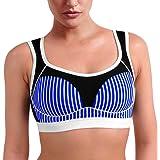 Osvyosport Women's Stripe Full-Support High Impact Racerback Sports Bra