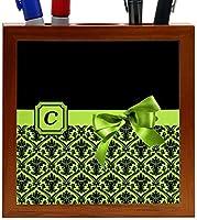 Rikki Knight Letter C Lime Green Monogram Damask Bow Design 5-Inch Tile Wooden Tile Pen Holder (RK-PH41808) [並行輸入品]