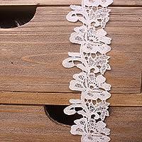 幅:5cm  弾力なし、花モチーフ付刺繍入りレース、アクセサリー         テーブル掛け、カーテン、ウェディングドレス、DIY、服装装飾(1バック4ヤード)に適用すること。 (白色)