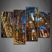 最初壁アート–ノートルダム大聖堂with Statue壁アート絵画プリントキャンバスの宗教の絵ホーム現代装飾 12x26inchx2Panel,12x35inchx2Panel 8223123F