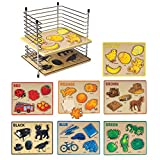 Constructive Playthings cpx-080ラックのlearn-a-color 76pc。パズルパズルとワイヤーラック