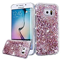 Galaxy S6 Case, Galaxy S6 Liquid Glitter Case,PHEZEN 3D Creative Design Shiny Quicksand Flowing Bling Glitter Sparkle Heart Clear Hard Case for Samsung Galaxy S6 - Pink Diamonds by PHEZEN