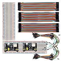 lgdehome 2pcs 830ポイントSolderlessブレッドボード実験プラグイン+ 2電源供給モジュール3.3V / 5V + 2パック65個ジャンパーワイヤ+ 120pcs 20cmジャンパーワイヤリボンケーブル