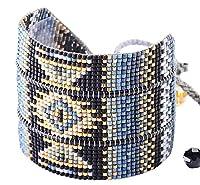 Mishky Rays Large Hand編みビーズブレスレット、ポリエステルスレッドで作ら、Mishkyゴールドメッキロゴのアルミ