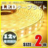 LEDテープライト 2m 12v 防水 車 船舶 ダブルライン 間接照明 トラック カー 照明 装飾 イルミネーション 屋外 200cm (電球色)