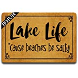 IFHUH Lake Life Doormat Lake House Decor Cabin Doormat Funny Doormat Sayings Front Door Mat Rubber Non Slip Backing Funny Wel