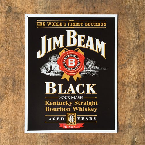 RoomClip商品情報 - ブリキ看板「Jim Beam - Black label」 アメリカン ガレージ アンティーク レトロ