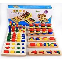 8 in 1set Toddlers MontessoriマテリアルTeachingおもちゃ幾何図形ブロック学習Sensoryおもちゃ木製おもちゃベビー玩具教育