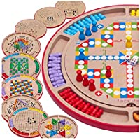 Goodgoods ダイヤモンドゲーム 五目ならべ フライトチェス 蛇と梯子 キツネとガチョウ ボードゲーム 多機能 木製おもちゃ 知育玩具 チェッカー 子ども 013-lzgy-d79522(直径35.5cm 約1500g)