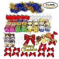 クリスマス ツリー オーナメント 飾り ツリー デコレーション セット メリークリスマス レター カード スノー グローブ リボン ギフト ボックス スノーフレーク ティンセル ガーランド … (71)