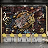 Weaeo カスタム壁画壁紙カバーレトロメタルギアミュージカルノートギターバーKtvの背景画像の装飾壁画-200X140Cm