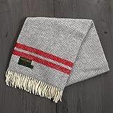 Tweedmill ツイードミル ウールブランケット ニーラグ 70x183cm ひざ掛け 大判 羊毛 イギリス製 Fiashbone 2Stripe (Grey Red)