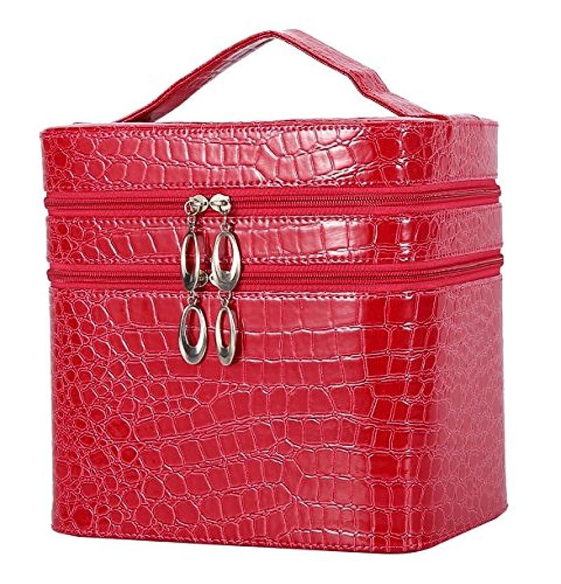 危険辛い救出HOYOFO メイクボックス 大容量 鏡付き おしゃれ コスメ収納 化粧品 収納 化粧 ボックス 2段タイプ レッド 赤