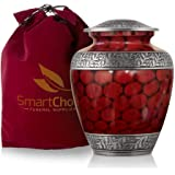 SmartChoice Royal Cremation Urn for Human Ashes - Affordable Funeral Urn Adult Urn for Ashes Handcrafted Urn (Red)