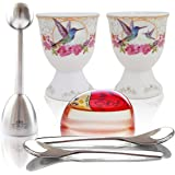 NobleEgg Premium Egg Cup Set for Soft Boiled Eggs | Egg Timer Pro, Exquisite Porcelain Egg Cups, 18/10 Egg Spoons, Egg Topper