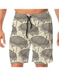 メンズ水着 ビーチショーツ ショートパンツ 傘パターン スイムショーツ サーフトランクス 速乾 水陸両用 調節可能