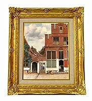 世界の名画 フェルメール デルフトの小道 ジクレーキャンバス複製画F3号豪華額装品