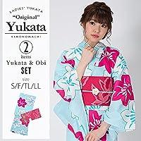 [KIMONOMACHI] 浴衣セット「水色 鉄線」S,F(フリー),TL,LL 女性浴衣セット