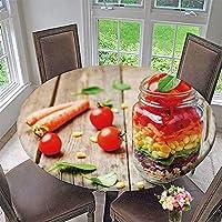 """PINAFORE HOME ピクニックサークルテーブルクロス ホームメイド ココナッツ製品 ホワイト木製テーブル背景 家族のディナーやギャザリングに 31.5インチ-35.5インチ 円形 (エッジはラスティック) 35.5""""-40""""Round SBYZB-DL-wqq-07129D100xD100"""