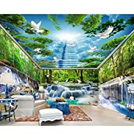 Wuyyii カスタム壁紙滝水森林クレーンクレーン白鳩全体の家の背景壁画3D壁紙