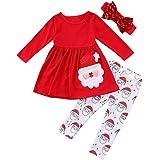 Avidqueen Christmas Party Clothing Set Toddler Baby Girls Princess Dress Tshirt + Santa Pant + Headband 3pcs Outfits