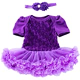 Beide Baby Girls Princess Rose Dress Short Sleeve with Headwear for Wedding Party