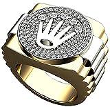 Men 's 18K 2つトーンホワイトとイエローゴールドメッキRolexデザインクラウンクラスタラボダイヤモンドリング。。。