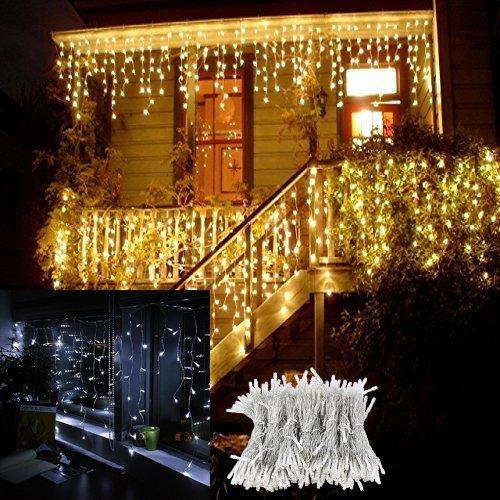 RUICAIKUN LEDイルミネーションライト 4M 96球 長短つらら 8種類点滅パターン 複数連結可能 防水IP65 カーテンライト クリスマスパーティー ワードローブ 結婚式 学園祭 ガーデンパーティー 屋内外装飾 カラフルライト コントローラとプラグ付き (ウォームホワイト)
