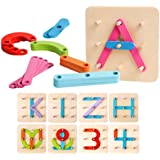 Kizh Wooden Letter and Number Construction Activity Set Educational Preschool Toys Shape Color Recognition Pegboard Sorter Se