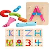 kizh Wooden Letter and Number Construction Activity Set Educational Preschool Toys Shape Color Recognition Pegboard Sorter Se