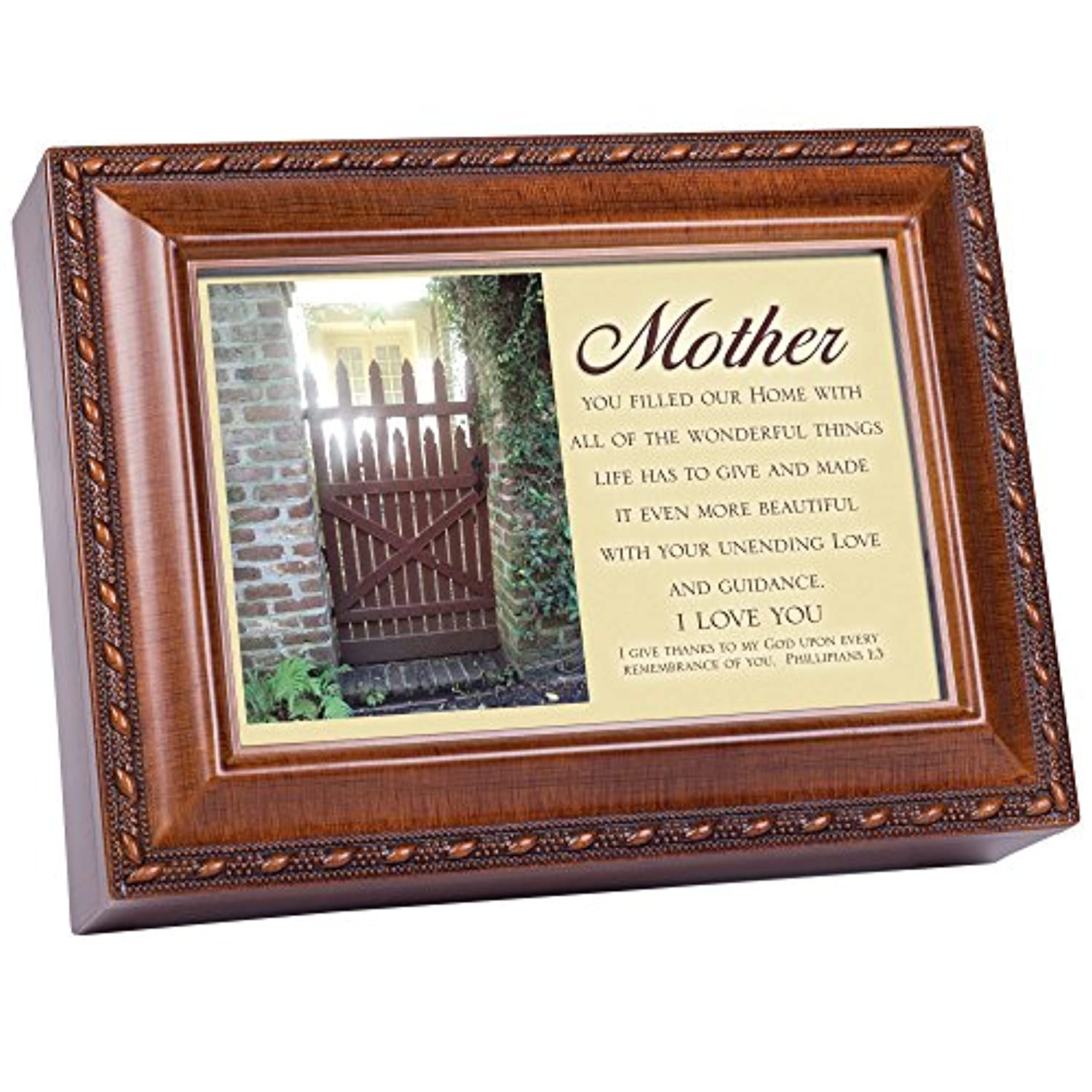 Cottage Garden Mother You Filled Woodgrain Music Box / Jewellery Box Plays How Great Thou Art