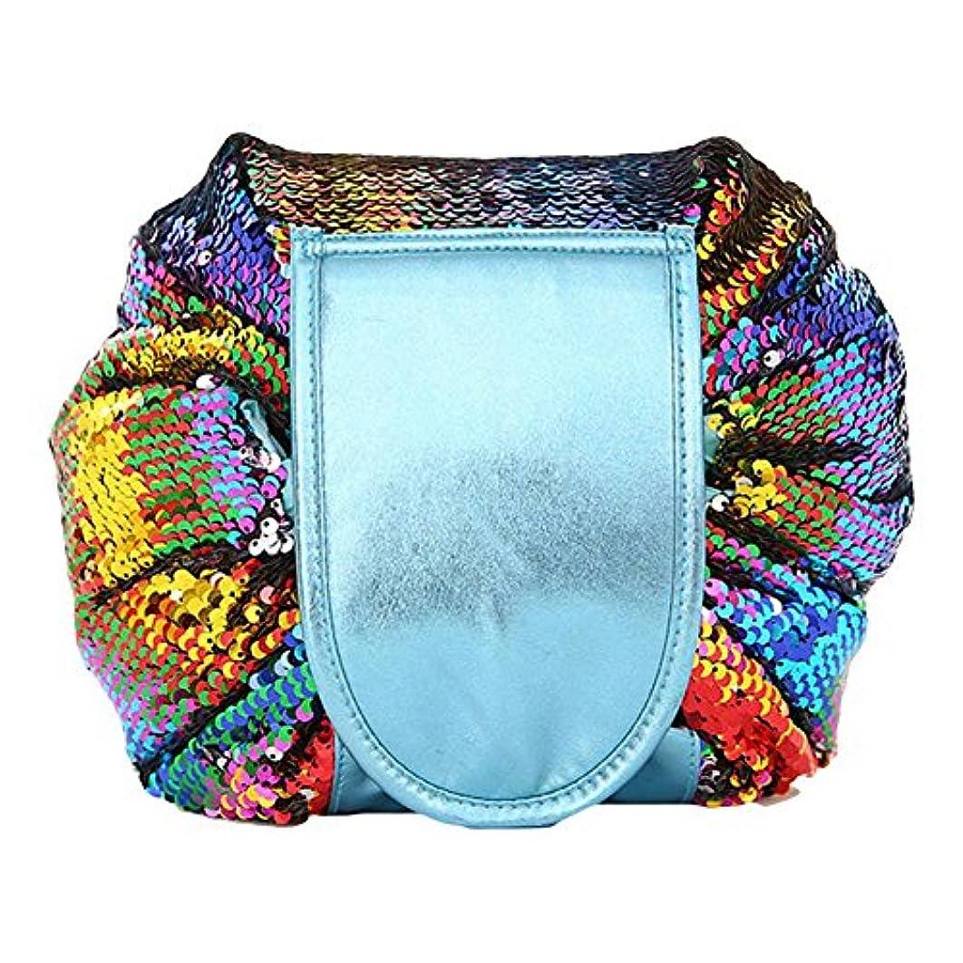 DJHbuy 旅行用 スパンコール 化粧ポーチ 大容量 巾着 便利 化粧品収納バッグ