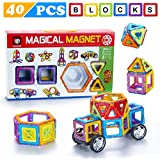 Minihorse-Educational Building Toys (40 pieces) with Activities to Learn Math / STEM Concepts Magnetic Blocks Building Set for Kids Magnetic Tiles Educational Building Construction Toys for Kids