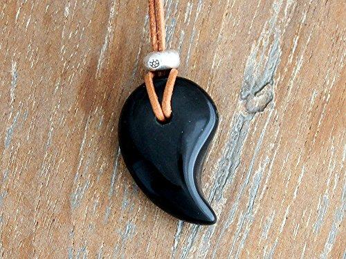 天然石 パワーストーン テクタイト 隕石 勾玉 カレンシルバー ペンダント チョーカー