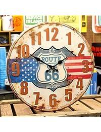 アンティークエンボスクロックUS ROUTE66【壁掛け時計・アメリカン】