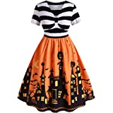 ROSE GAL Women's Plus Size Halloween Dress Pumpkin Short Sleeves Vintage Dress