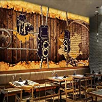 Wuyyii 写真壁紙レトロな懐かしい壁紙レストランスタジオ壁画ボードロープギアバーコーヒーショップの背景Wallpaper120X100Cm