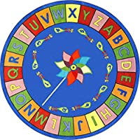 Joy Carpets Kid Essentials Early Childhood Round Alphabet Pinwheel Rug, Multicolored, 5'4 by Joy Carpets