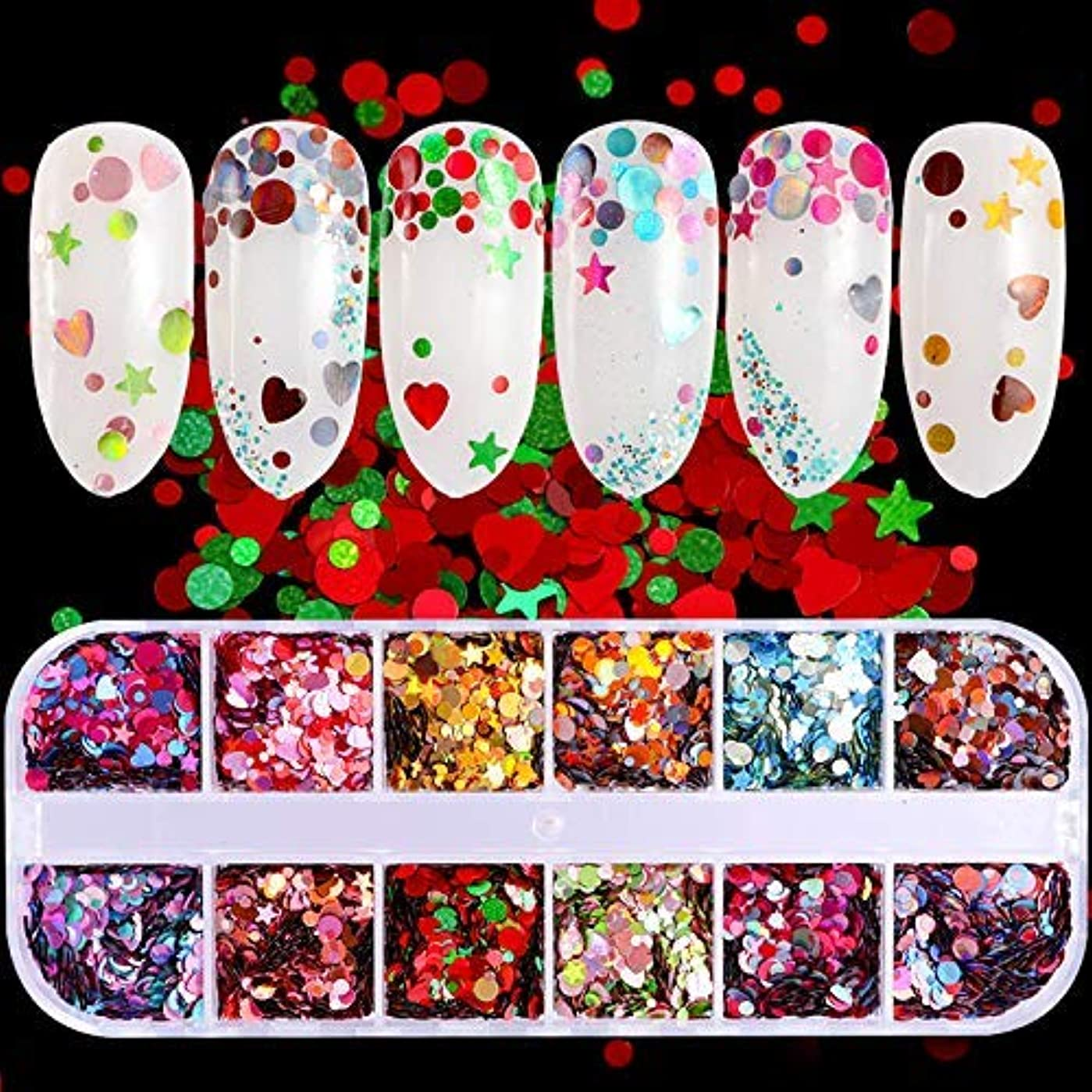 屋内でマーケティング派手1ボックスミックスカラー3サイズミックスラウンドスターハートグリッターホログラフィックスパンコールネイルアートパイレットデカールDIYチップ