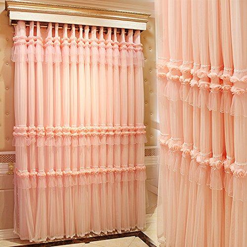 ピンク 韓風 姫系カーテン 立体レース薔薇 ロマンティック 超綺麗 カーテン