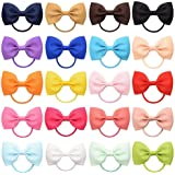 20 Pcs Hair Bow Tiny Hair Bows with Elastic Loop Ponytail Ties Pony Tail Holder Accessories for Infants Toddlers Girls Kids