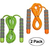 Adjustable Soft Skipping Rope with Skin-Friendly Foam Handles for Kids, Children, Students and Adults - Orange & Green-Adjust