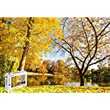 PigBangbang 20.6 X 15.1インチ アートピクチャー 漫画ジグソーグルー 木製装飾壁画 美しい秋の黄色い葉 川の木 500ピースジグソーパズル