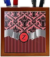 Rikki Knight RK-PH2251 Letter Z Initial Red Damask and Stripes Monogrammed Design 5-Inch Wooden Tile Pen Holder (RK-PH2251) [並行輸入品]