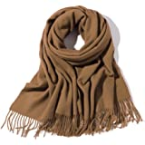 "Women's & Men's Large 79""x28"" Soft Lamb Cashmere Wool Wraps Shawls with Fringe Stole Scarf Scarves with Gift Box"
