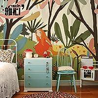 HANHUAN アールデコ様式のフレスコ画の壁紙の壁画防水カスタマイズ可能なサイズの東洋のマンガスタイルの養樹園の男の子および女の子のデザインのシームレスな壁のダマスク織の Non-Toxic 環境保護バスルーム/レストラン / バー/ホール / リビング/玄関 / キッチン/オフィス / ベッドルーム、 200 x 140 cm 。