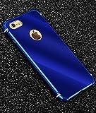iPhone 8 メタルバンパー、uovon 高品質アルミ製フレーム+バックプレート スクラッチ保護 iPhone8 カバー オシャレデザイン 最高レベル耐衝撃 ケース (iPhone 8, ブルー)