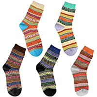 Airsspu Women's Vintage Style Winter Thick Knit Warm Wool Casual Soft Cozy Crew Socks (5 Pack)