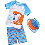 Baby Toddler Boys Two Pieces Swimsuit Set Boys Bathing Suit Rash Guards with Hat UPF 50+ FBA