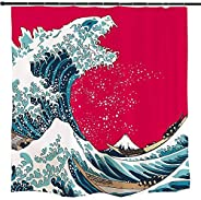 Ofat Home Japanese Godzilla and The Great Wave off Kanagawa Shower Curtain Sets with Hooks for Bathroom Access